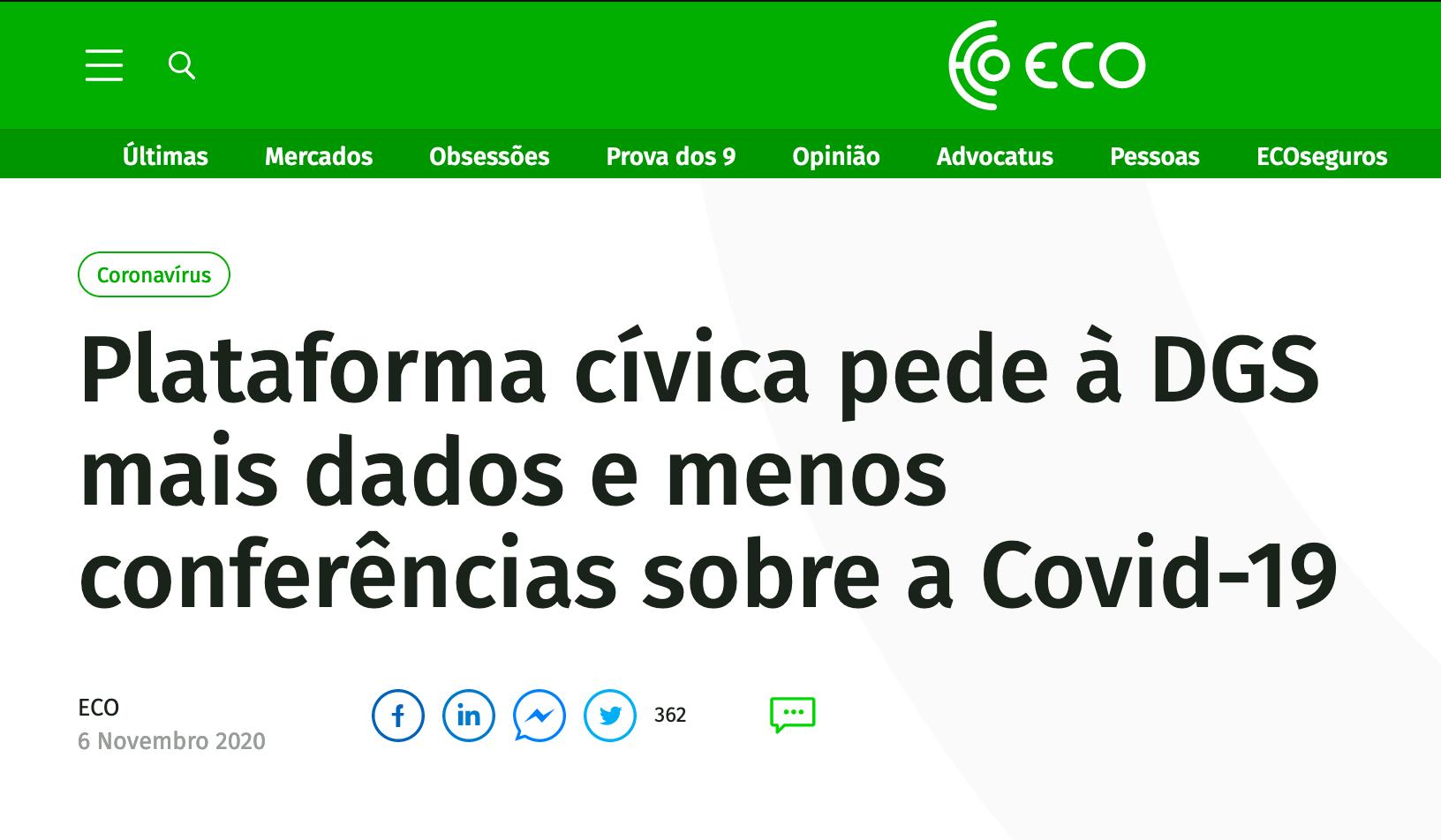 Plataforma cívica pede à DGS mais dados e menos conferências sobre a Covid-19