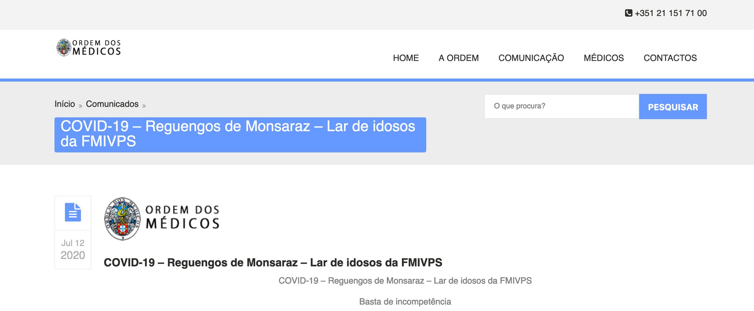 COVID-19 – Reguengos de Monsaraz – Lar de idosos da FMIVPS