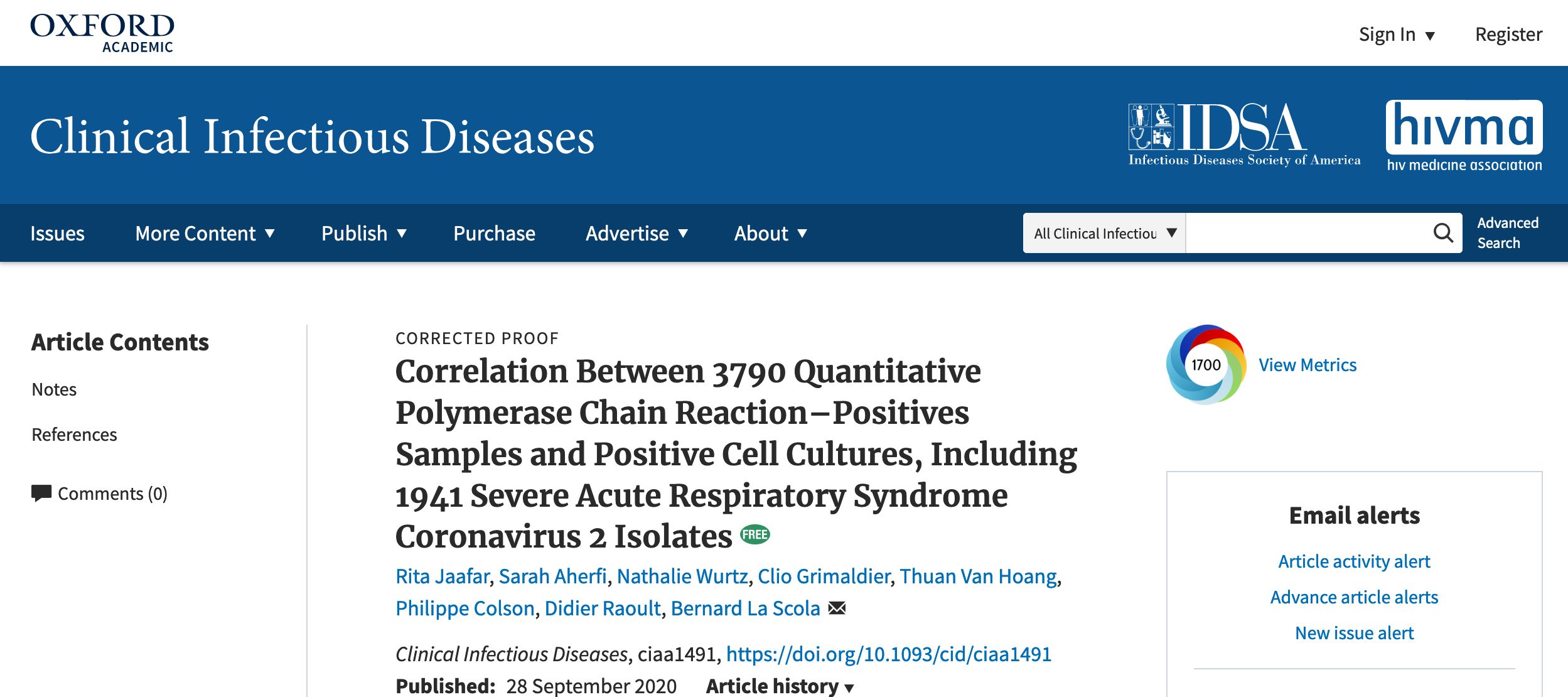 Correlation Between 3790 Quantitative Polymerase Chain Reaction–Positives Samples and Positive Cell Cultures, Including 1941 Severe Acute Respiratory Syndrome Coronavirus 2 Isolates