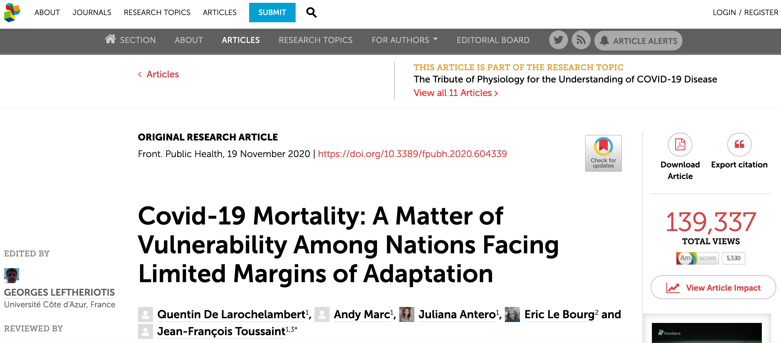 Covid-19 Mortality: A Matter of Vulnerability Among Nations Facing Limited Margins of Adaptation