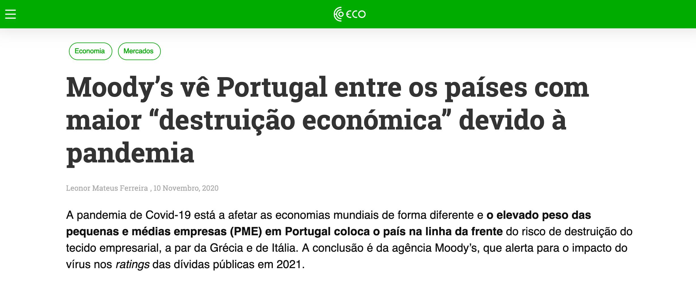 """Moody's vê Portugal entre os países com maior """"destruição económica"""" devido à pandemia"""