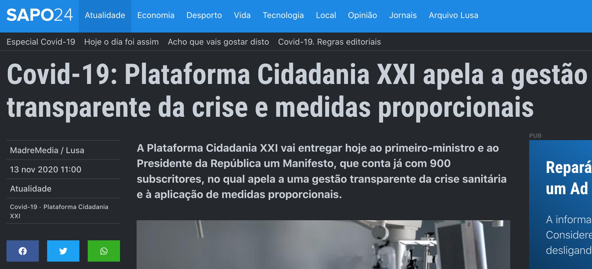 Covid-19: Plataforma Cidadania XXI apela a gestão transparente da crise e medidas proporcionais
