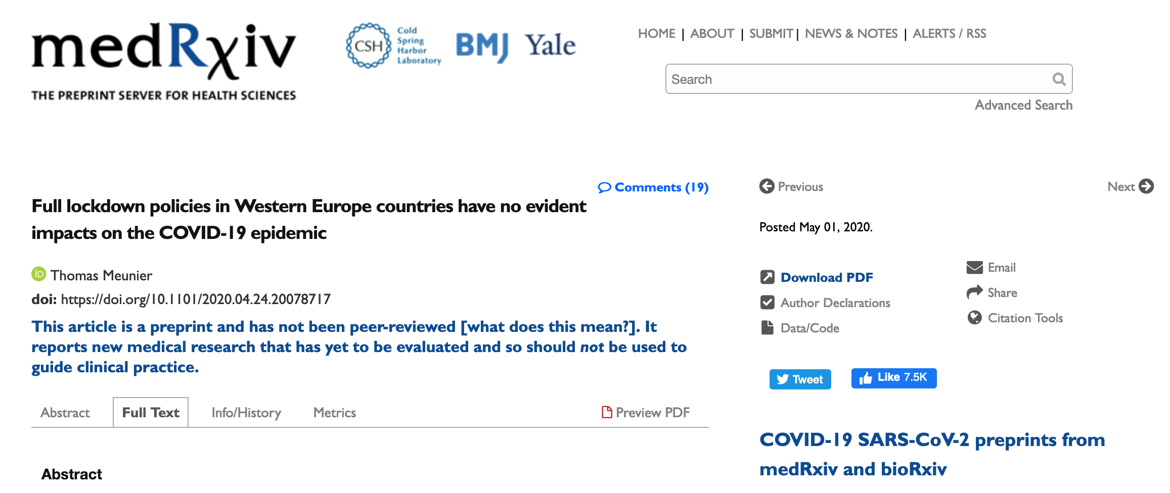 Full lockdown policies in Western Europe countries have no evident impacts on the COVID-19 epidemic